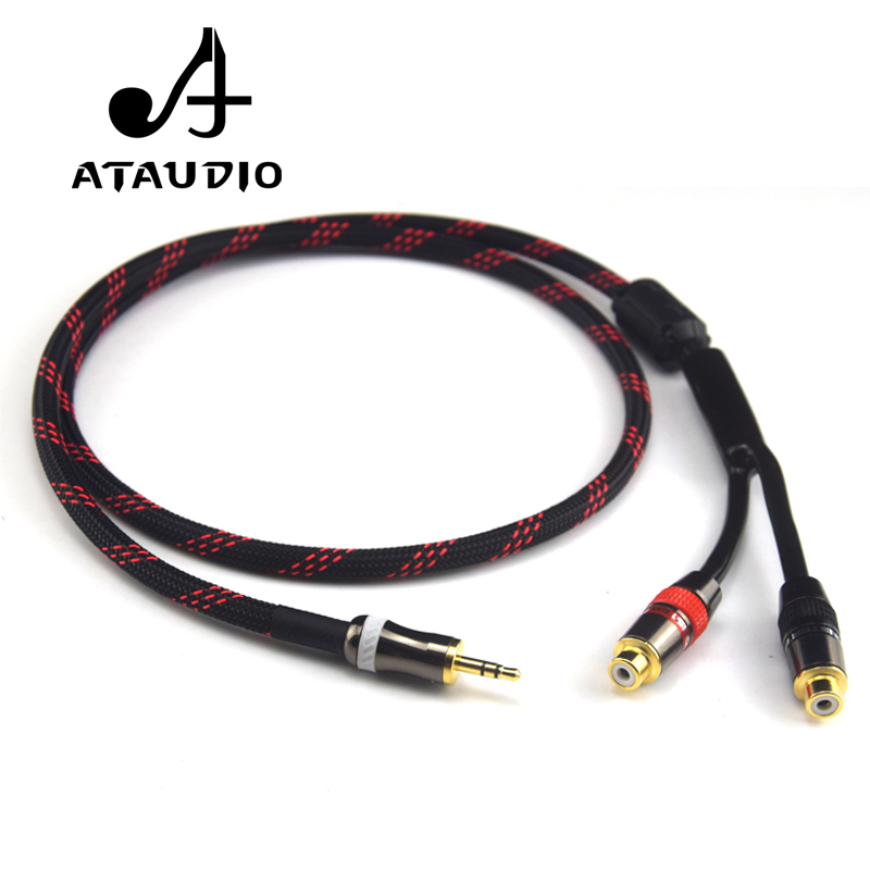 ATAUDIO Hifi 3.5mm Male To 2RCA Female Cable 4N OFC 3.5 To RCA Audio Cable