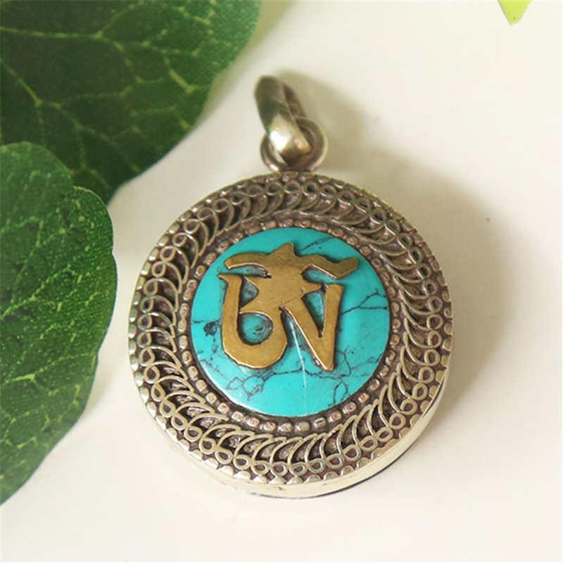 TGB111 Тибетский ОМ мантра молитвенный ящик медальон амулет белый металл медь инкрустация красочные каменные подвески - Окраска металла: Green