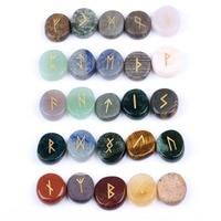 Natural Engraved Rune Stones Set Chakra Healing Gemstones Craft Feng Shui Decoration 25pcs Set with Velvet Bag EN0275SY