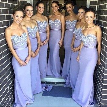 Элегантное кружевное платье лавандового цвета для свадебной вечеринки, популярное длинное платье подружки невесты на заказ, 2019