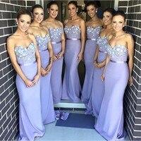 2019 Elegant Lavender Sweetheart Lace Wedding Party Dresses Popular Custom Made Sash Long Bridesmaid Dress