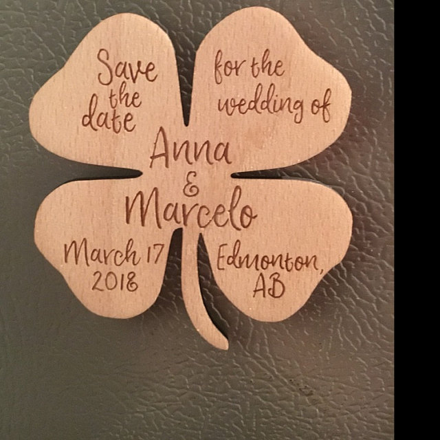 Personalized lucky clover save the date magnet wooden saved the personalized lucky clover save the date magnet wooden saved the date wedding birthday baby bridal shower party favors gifts in party favors from home negle Image collections