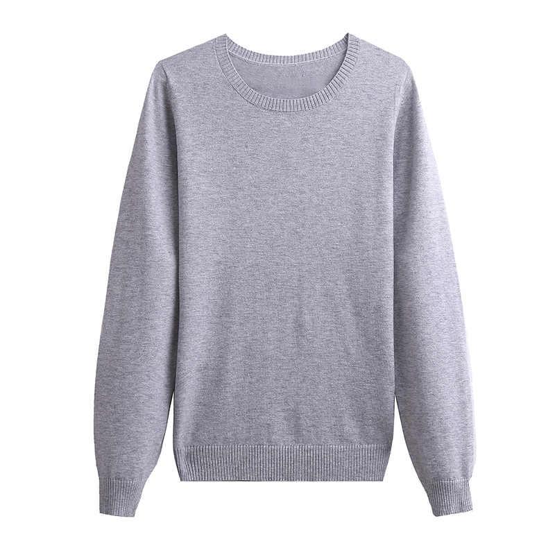 Toyouth Delgado sólido cuello en V suéteres jersey básico de punto de fondo para mujeres Casual cuello redondo pulóvers primavera Tops