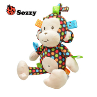 Wholesale 5pcs High Quality Plush Baby Toy Sozzy Baby Rattle Toys Monkey Pull Bell Plush Toys