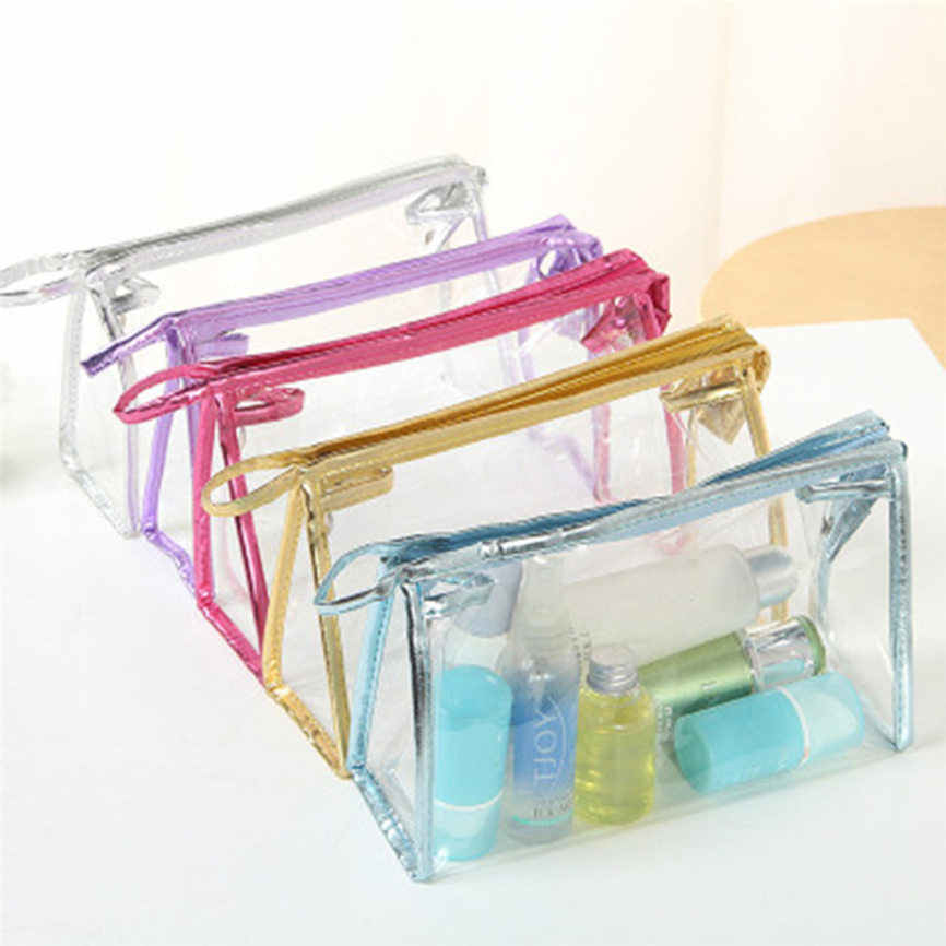 1X Clear Transparent Plastic PVC Travel Cosmetic Make Up Toiletry Bag Zipper 23.5*15.5*7cm Dropshipping Aug#1