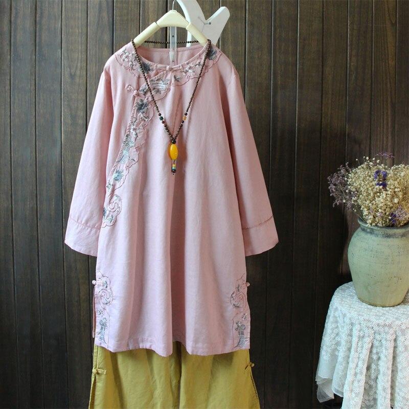 8e7935e3123 Aliexpress.com   Buy New Autumn Chinese Style Mori Girl Shirt Dress  Embroidery Obligue Buckle Vintage Cotton Linen Shirt Dress Vestidos  Femininos 18 from ...