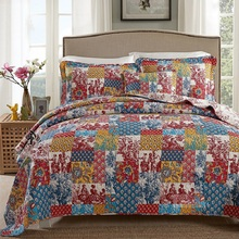 CHAUSUB Summer Quilt Set 3PC 100% Cotton Quilts Quilted Bedspread Bed Cover Sheets Pillowcase Patchwork Print Coverlet KING Size