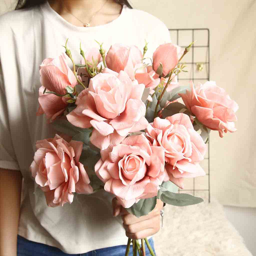 1PC Artificial Fake Roses Flannel Flower Bridal Bouquet Wedding Party Home Decor