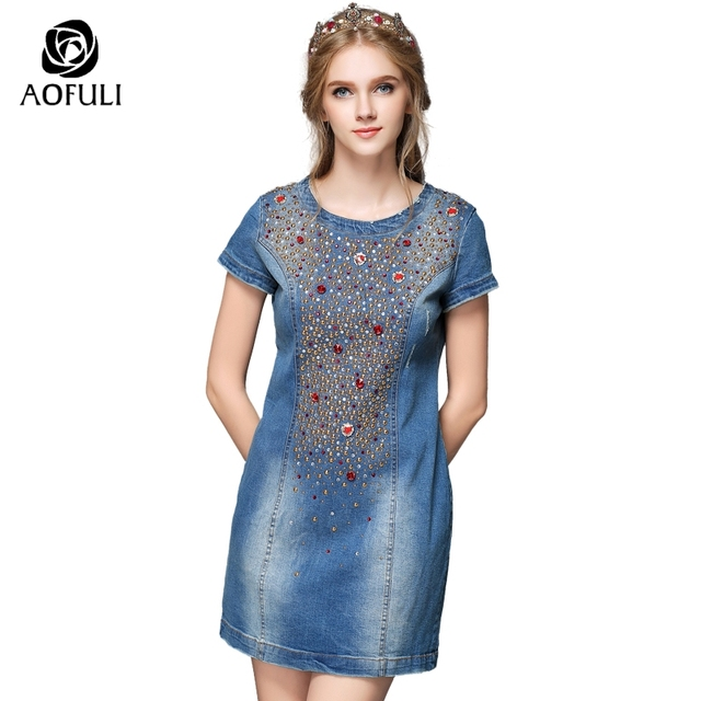US $59.88 |S XXL Diamond Summer Denim Dress Plus Size Women Jean Dress  Short Sleeve Beaded Sundress Brand Straight Clothing Y885-in Dresses from  ...
