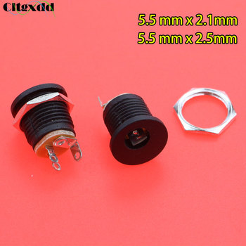 Cltgxdd 1PCS 5.5x2.1/2.5mm 5.5*2.1/2.5mm DC Power Jack Socket Female Panel Mounting Connector 5.5mm x 2.1mm / 2.5mm Plug Adapte image