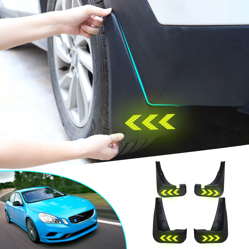 Car Fender Mud Flaps For VOLVO S60 2010 2012 2013 2014 2015 2016 Reflective Warning Splash Guards Mudguards Mudflaps Accessories
