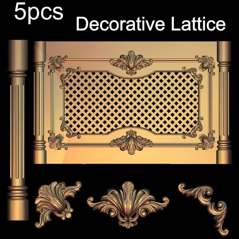 5pcs Decorative Lattice 3D Model STL Relief For Cnc STL Format Decor 3D STL Furniture Decoration