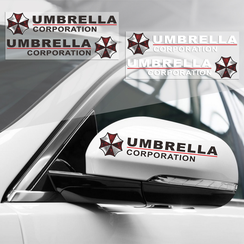 2PCS Umbrella Corporation Reflective Car Rearview Mirrow 3D Sticker And Decal For Vw Golf Polo Audi Bmw Ford Focus Opel Kia