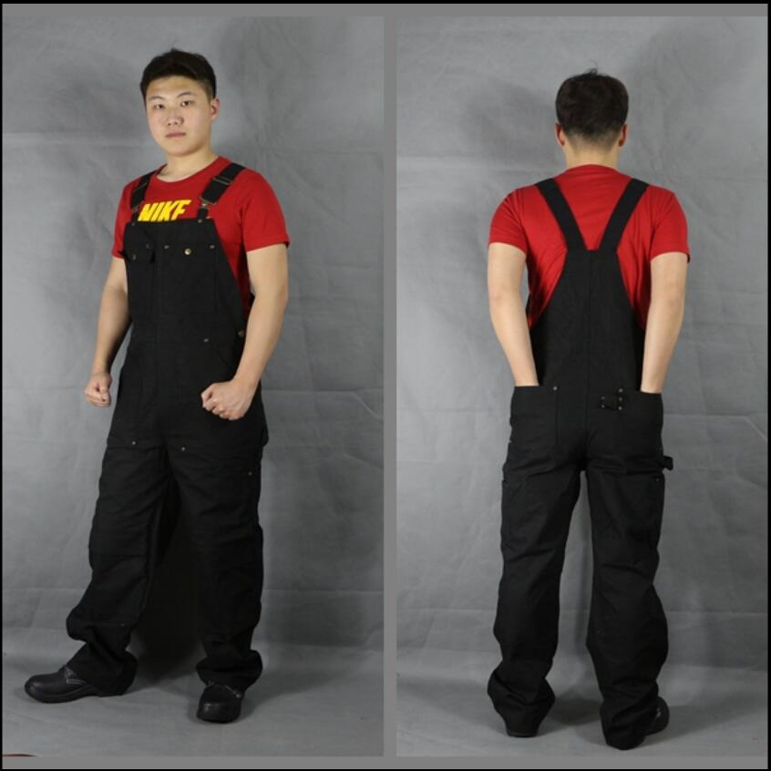 XL-3XL European Large Size Black Overalls Men Bib Jumpsuit Autumn And Winter Repairman Strap Jumpsuit Pants Work Uniform Clothes