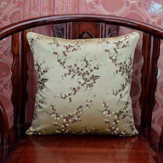 Ручной работы с цветочным принтом китайский стул подушка для дивана в этническом стиле Подушка под поясницу декоративные наволочки шелк атласная наволочка 45x45 см - Цвет: Цвет: желтый