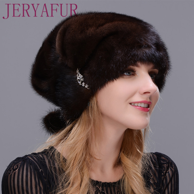 2017 style Russian woman warm hat one is a mink hat fur hat handmade winter warm willow decorated decorative ear cap russian phrase book