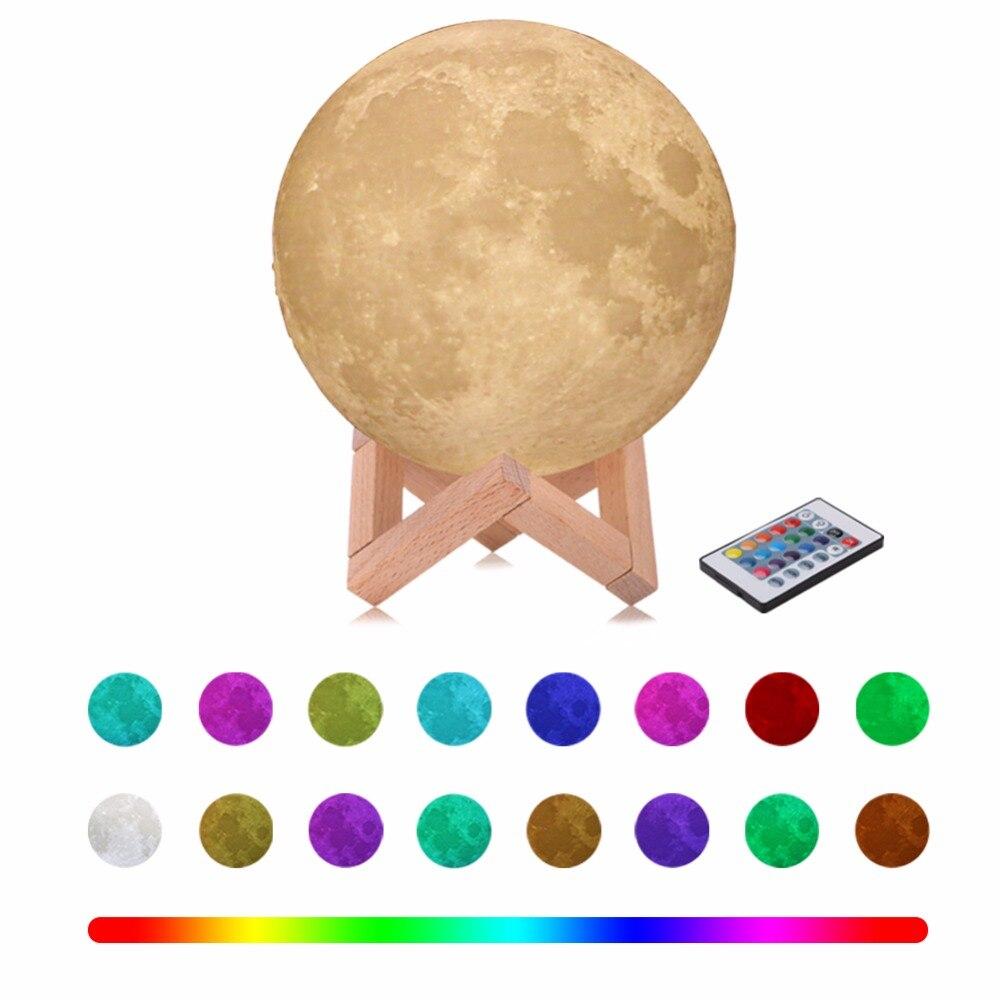 Usb Light Touch 3d печать Луны лампа lua Luminaria освещения спальни лампа Moon светодиодный свет ночи Цвет изменение Night лампа ...