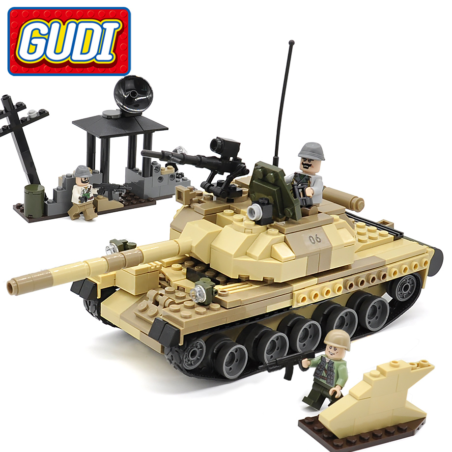 GUDI Military War Weapon Armed T-62 Tank Block 372pcs Bricks Building Blocks Sets Models Educational Toys For Children