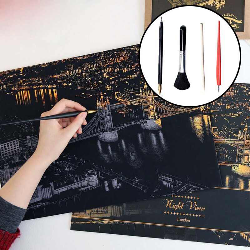 1Pcs Large City Night Scratch Picture Painting  Kids Scraping Paper Travel Memory Urban Night Scene DIY Craft Birthday Gift