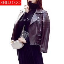 HOT Free shipping 2016 new autumn fashion women high quality sheep skin leather motorcycle jacket lapel