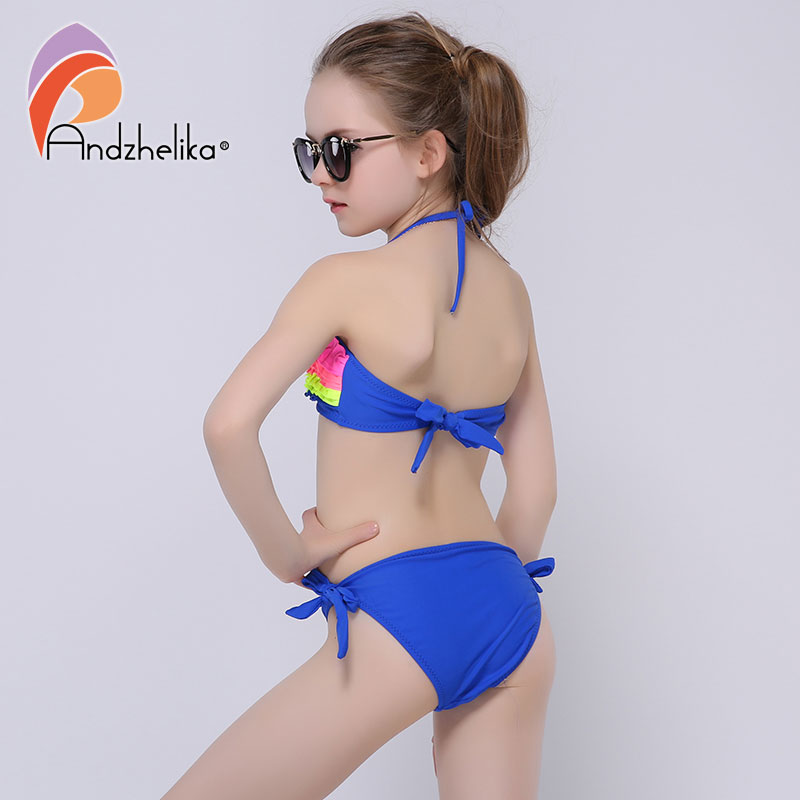 5e050c9376c34 Andzhelika Children s Swimsuit 2018 New Summer Girls Bikini Cute Swimsuits  Kids Beach Swimwear Child Patchwork Swim Suits AK6829-in Bikinis Set from  Sports ...