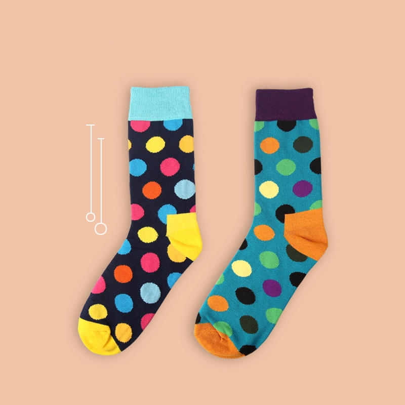 2018 new spring women's   socks   1 pair long cotton dots women fashion unisex happy   socks   high quality for men