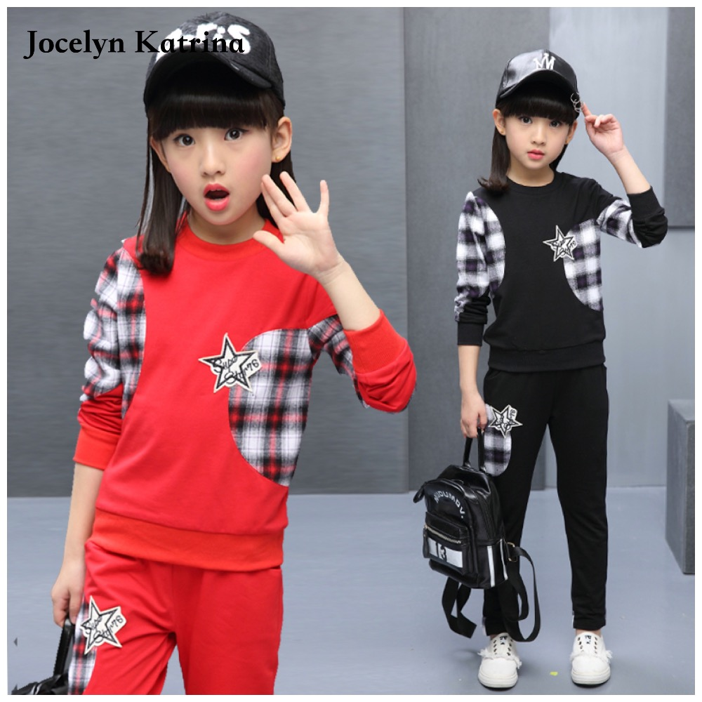 Children Girl Clothing Set Sports Suits 3-14 Years Kids 2pcs Sets Spring Autumn Fall Child Girls Clothes Tracksuits Sports Wear