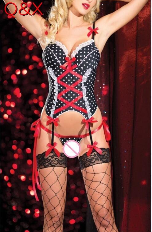 Buy DL101 Sexy Lingerie Women Cute Uniforms Maids Apron Cross-belt Backless Night Sleepwear Dress G-string+Polka Dot Sexy Costume