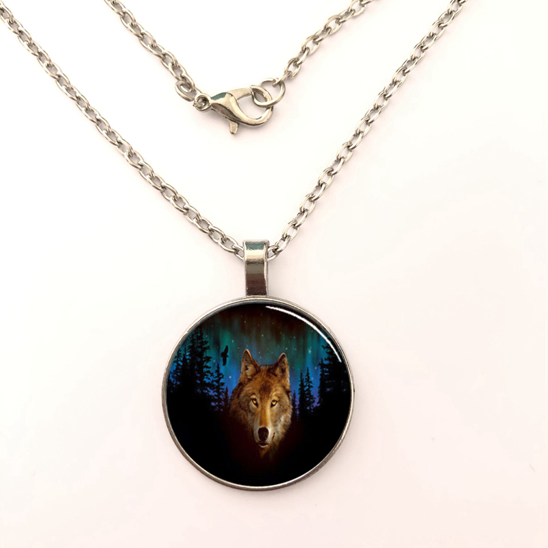 Northern Lights Wolf Handmade Glass Dome Jewelry Necklace Pendant Pendant with Jewelry Glass Cabochon girl 39 s Gift for her in Pendant Necklaces from Jewelry amp Accessories
