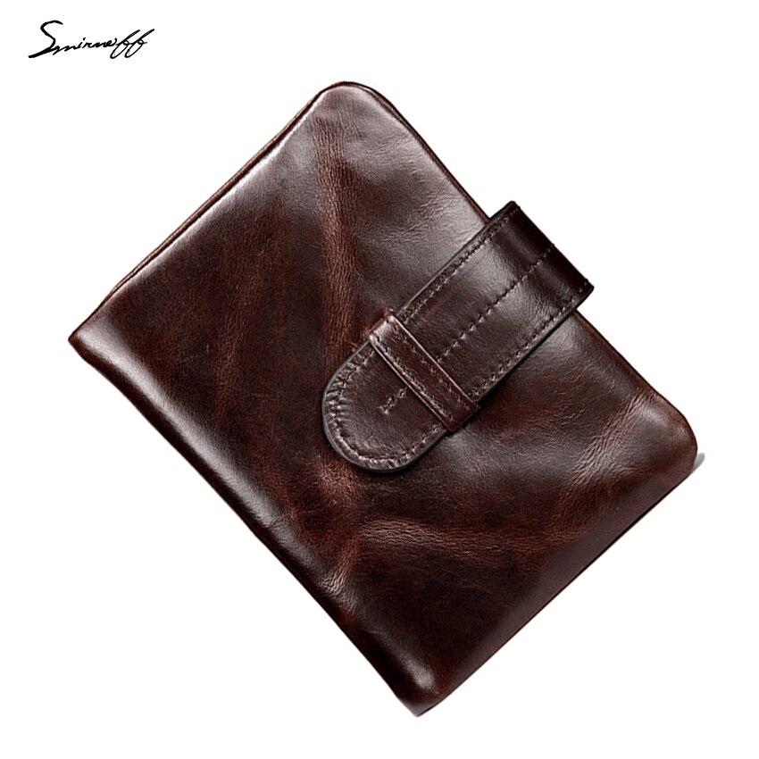 Smirnoff suave Carpeta de cuero de la vendimia hombres de lujo marca tarjeta 2 plegado monedero corto cerrojo bits multi-tarjeta monedero de la cartera masculina