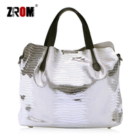 ZROM Brand Genuine Leather Women Handbag High Quality Fashion Ladies Lizard Shoulder Bag Solid Color Top handle Bag Handbag