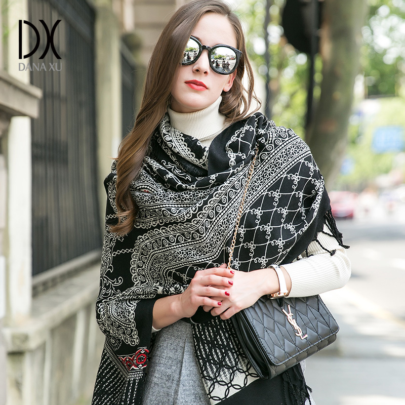 Luxury Brand Scarf Pashmina Echarp Cashmere Wrap Shawl Winter Scarf Ladies Scarves Tassels Long Blanket  Bandana Face Shield