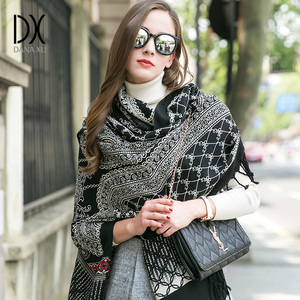 Image 1 - Luxury Brand Scarf Pashmina Echarp Cashmere Wrap Shawl Winter Scarf Ladies Scarves Tassels Long Blanket  Bandana Face Shield