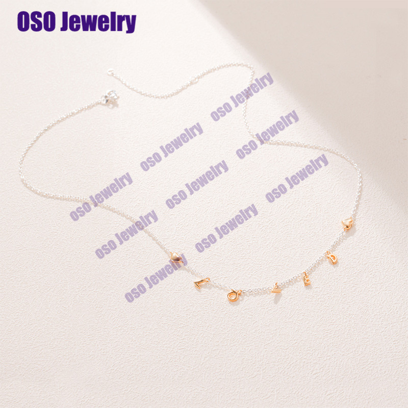 Genuine 925 Silver Loved Script Necklace Fow Women Gift Plata De Ley 925 Fashion Jewelry