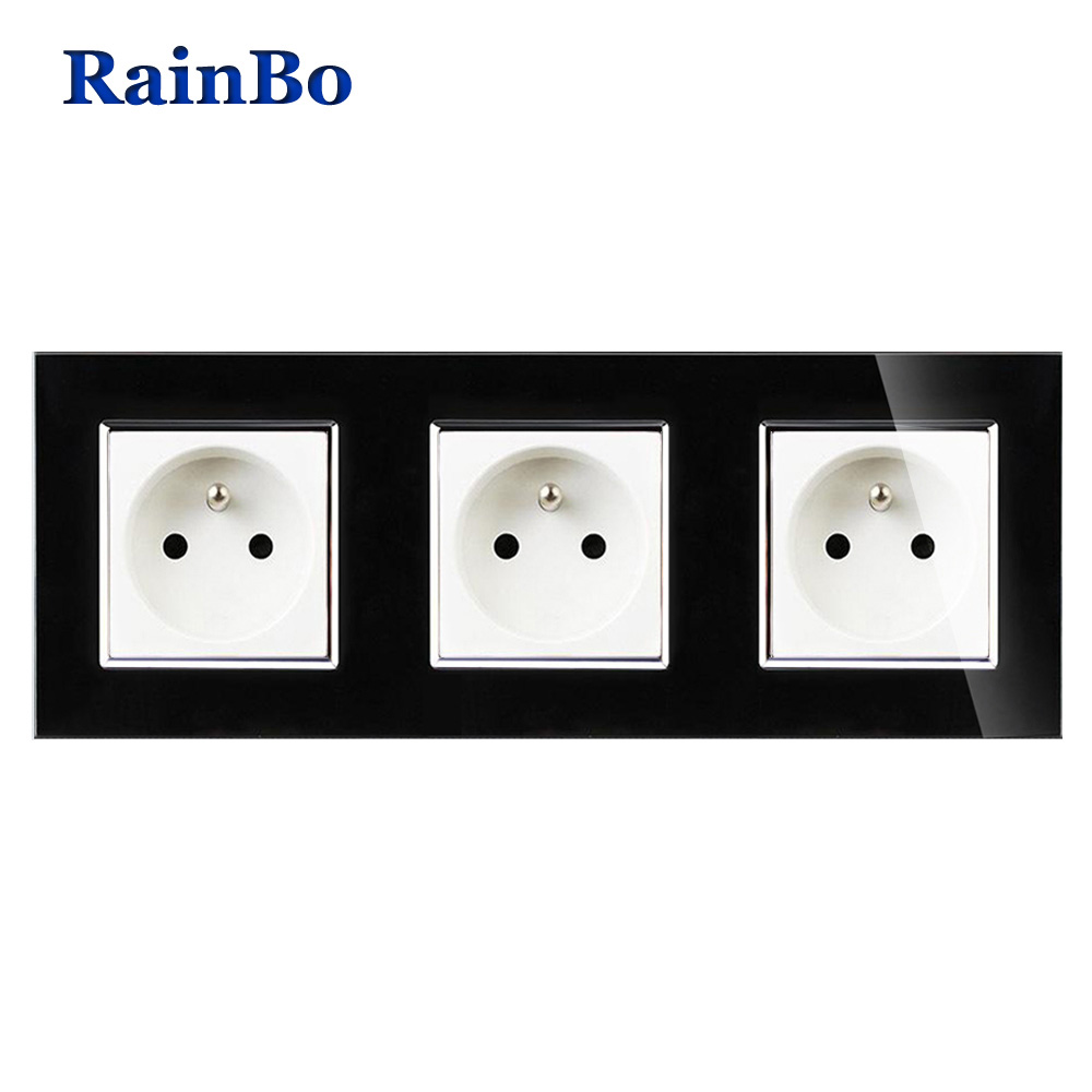 RainBo NEW Wall power Socket Standard Power Black Crystal Glass Panel AC110~250V 16A Wall Power Socket Free Shipping A38F8F8FB rainbo brand free shipping wall power socket new outlet france standard crystal glass panel ac110 250v 16a wall socket a18fw b
