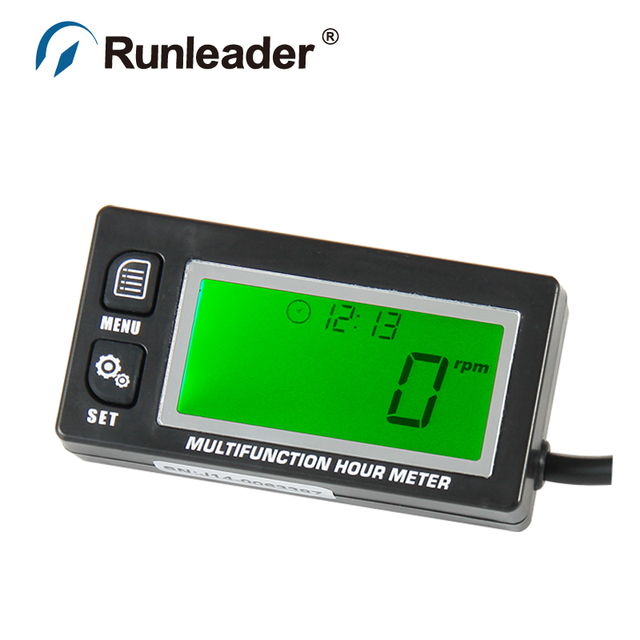 Digital Inductive Gasoline Engine Hour Meter Maintenance Reminder Counter Record Max RPM Tachometer VOLTMETER Clock
