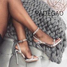 Sandały damskie 2019 Luxury Party eleganckie buty ślubne na obcasie Sandels seksowna z kryształami srebrne buty damskie