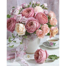 5D Diy Diamond Paintings Mosaic Flower Pictures Rhinestones Embroidery A Vase Of Pink Rose Wall Artwork Wedding Decoration