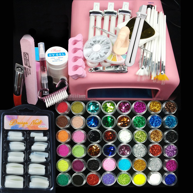 36w uv pink lamp manicure set Nail Art UV Gel Kits sets Tools Brush Tips Glue Acrylic Powder 2018 pro uv gel nail art sets tool kits uv lamp brush remover rhinestones nail half tips cleanser plus acrylic ms coco set