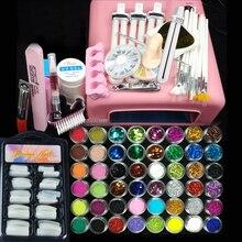 36w uv pink lamp manicure set Nail Art UV Gel Kits sets Tools Brush Tips Glue Acrylic Powder