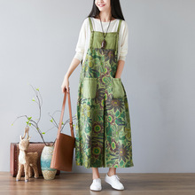 New Loose Retro Denim Jeans Overalls Ankle-length Printing Floral Trousers A14