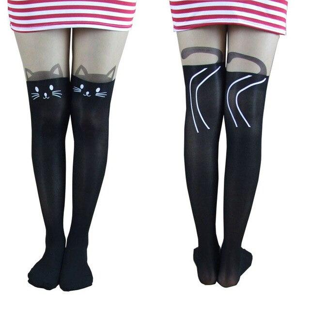 Sexy Girl Cat Tail Gipsy Mock Knee High Hosiery Pantyhose