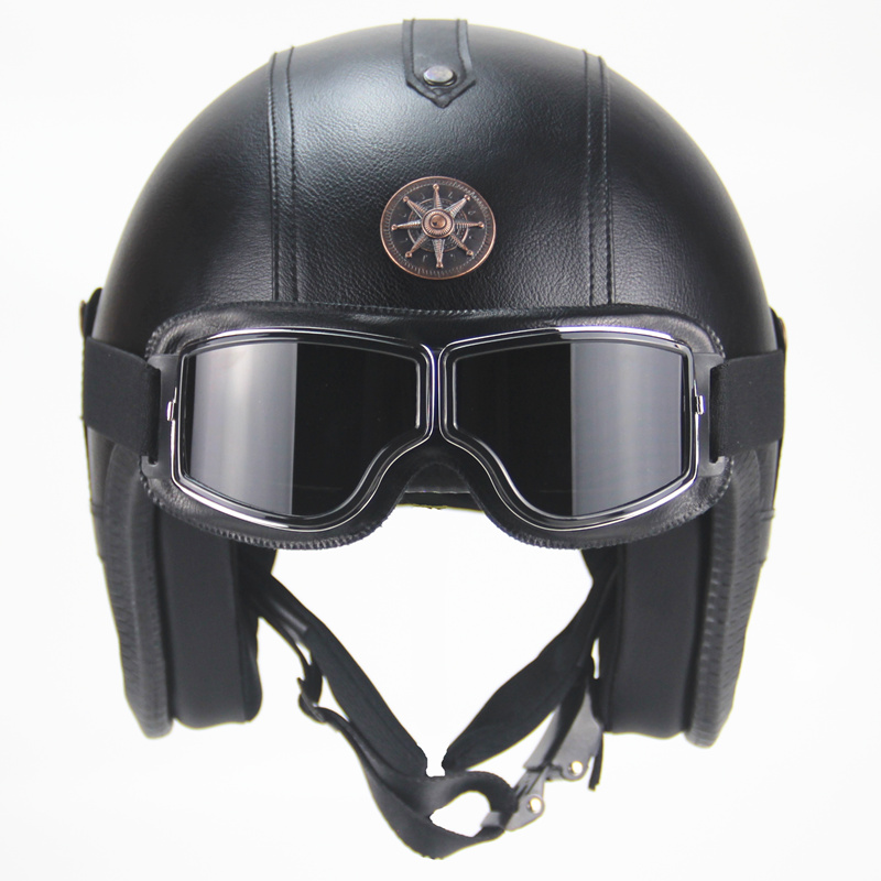 NEWEST Black Adult Open Face Half PU Leather Helmet Harley Moto Motorcycle Helmet vintage Motorcycle Motorbike Vespa with mask moto adult leather harley helmets for motorcycle retro half cruise helmet prince motorcycle german helmet vintage motorcycle