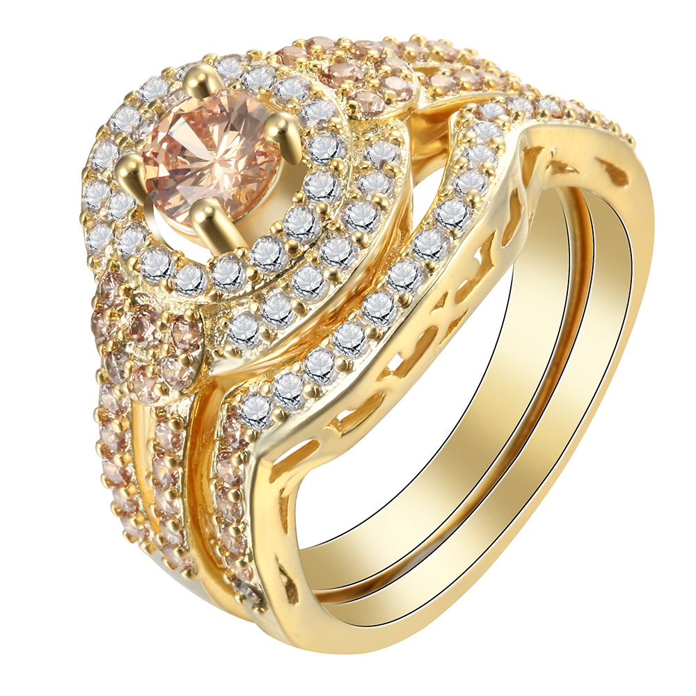 Gold Color Ring Sets For Engagement Girl Friend Trendy