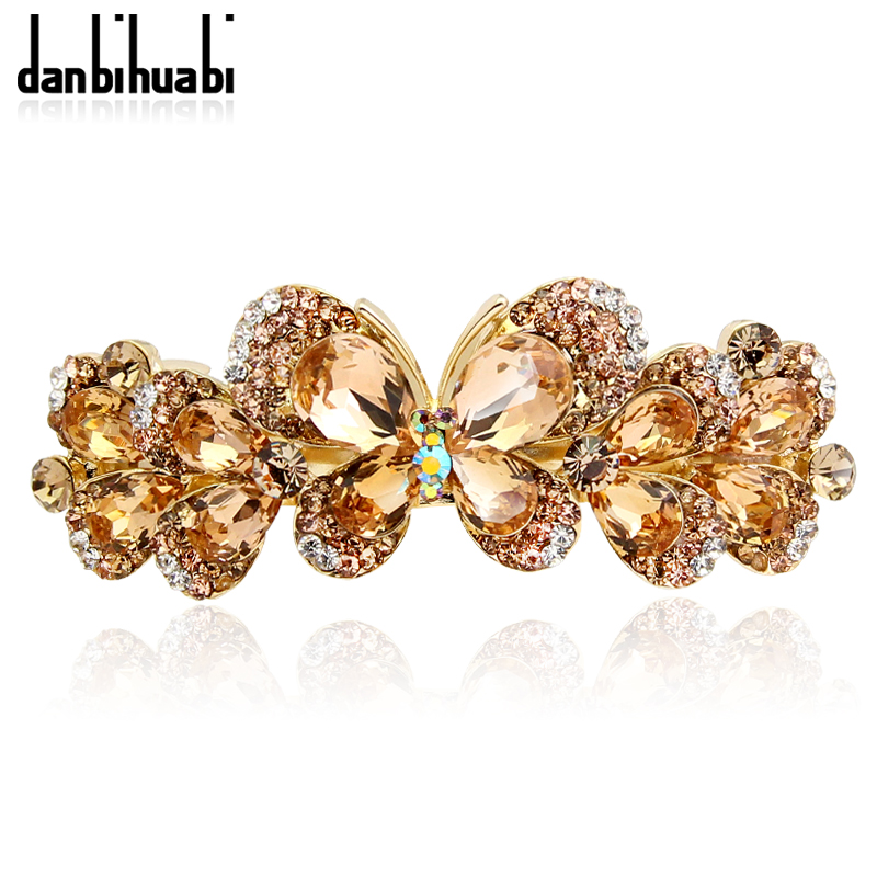 где купить danbihuabi High Quality Butterfly Hairpin Retro Gold Colorful Rhinestone Women's Hair Jewelry Barrette Hair Clips Accessories по лучшей цене