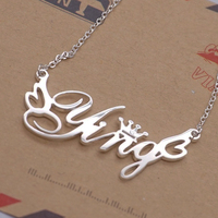 Romantic Gift 925 Silver English Font Custom Personalized Name Choker Necklace Women Handwriting Signature Customized Necklace