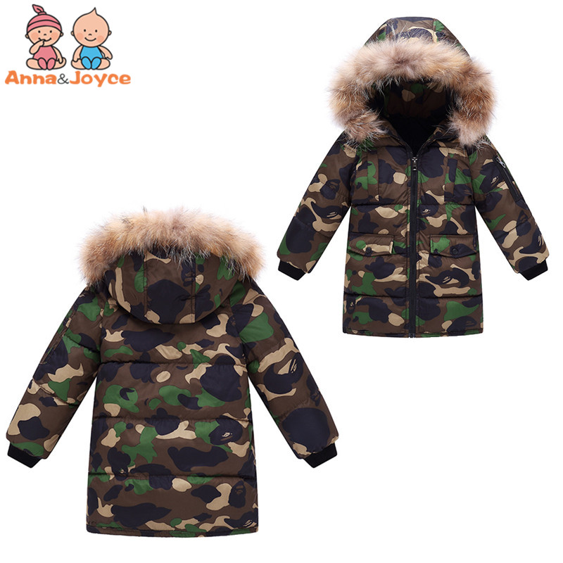 New Down Jacket In Winter Small And Medium-sized Children Girl Boy Medium Length Children Down Jacket Camouflage Coat Fashion pu leather and corduroy spliced zip up down jacket