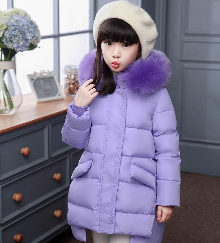 2017 Children school kids girl long jacket fur hooded duck down fluff 6-12y kids coat thickening winter overcoat clohes for girl children duck down winter warm jacket with fur baby boy girl solid overcoat hooded winter jacket kid clothing fashion down coat