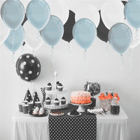 50 Pcs Package 12 Inch Thickness Latex Balloons Black Blue And White Color Wedding Engagement Party