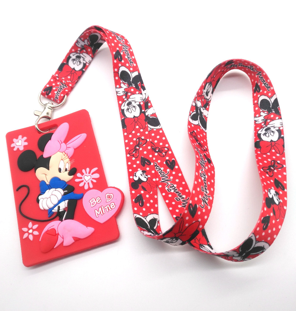 New  Retail 1 Pcs  Soft Silicone Cartoon Minnie Mickey Sign Card ID Holder  With Hanging String Keychain T01